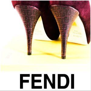 LIKE NEW Fendi Wine Colored Logo Heels